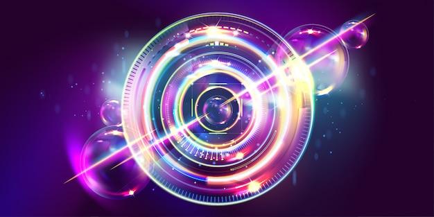 暗いレトロな未来的なアートネオン抽象化背景コスモス新しいアート3 d星空輝く銀河と惑星の青い円