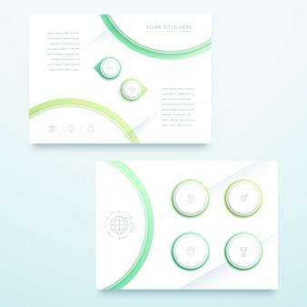 ベクトル緑の3 d風景ページテンプレートインフォグラフィック