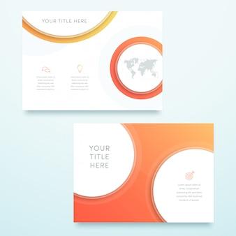 ベクトルオレンジ3 d風景ページのテンプレートデザイン