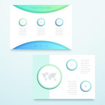 ベクトル青3 d風景ページテンプレートインフォグラフィック