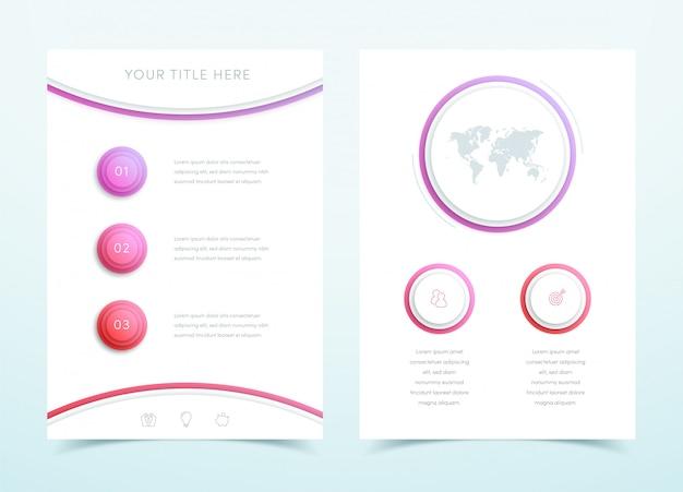 ベクトルビジネス赤3 dページテンプレート