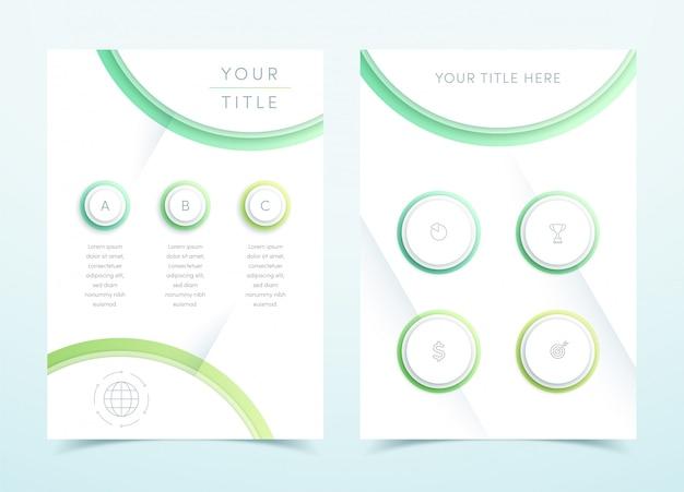 ベクトルビジネスグリーン3 dページテンプレートインフォグラフィック