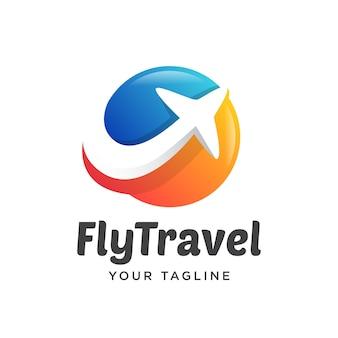 旅行平面ロゴシンプルなグラデーション3 d
