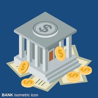 銀行ビルフラット3 dアイソメトリックベクトルアイコン