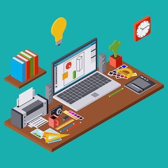 創造的なプロセス、ウェブデザイングラフィックフラット3 dアイソメトリックベクトルの概念図