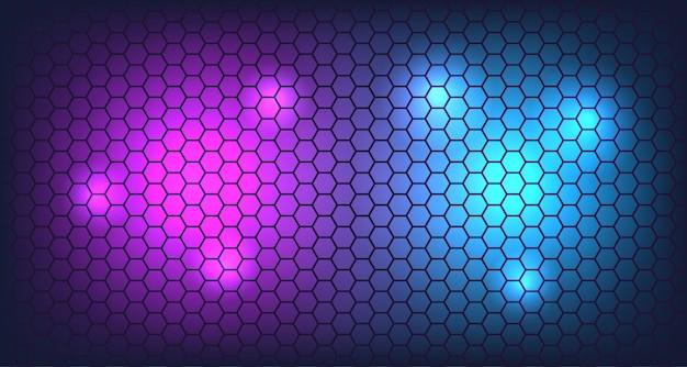 ネオンの輝きの背景を持つ3 dの六角形の壁