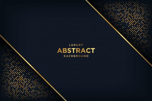 3 dスタイルの輝く黄金のドットの組み合わせで豪華な黒の背景。