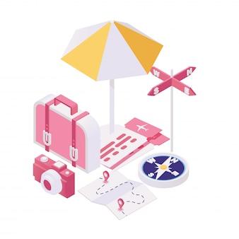 旅行の等角投影図の準備をしています。観光旅行、夏休みツアー3 dコンセプトのパッキングバッグ。夏の週末休憩所、休暇リゾートへの旅行を計画する