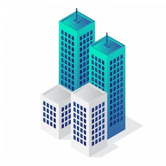 等尺性3 d建物のベクトルのアイコン
