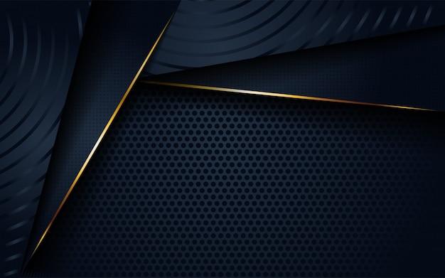 円形と金色の線の形をしたモダンな暗い3 d抽象的な背景。