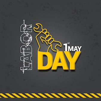 国際労働日のお祝いデザイン、3 dテキスト