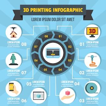 3 d印刷インフォグラフィックコンセプト、フラットスタイル
