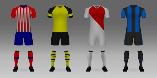 3 dのリアルなテンプレートサッカージャージアトレティコ、ボルシア、モナコ、ブルージュのセットです。
