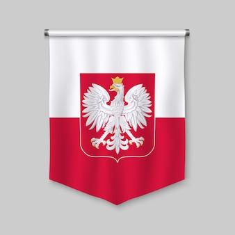 ポーランドの旗と3 dのリアルなペナント