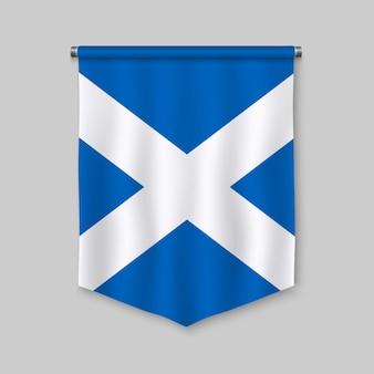 スコットランドの国旗と3 dのリアルなペナント