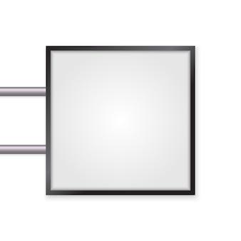 3 d看板分離モックアップ。設計のための空のスペースで照らされたライトボックス