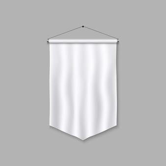 現実的なペナントテンプレート。空白の3 dフラグ。