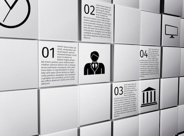 プレゼンテーションレポートのベクトル図の抽象的な3 dキューブ壁インフォグラフィックデザインレイアウトテンプレート