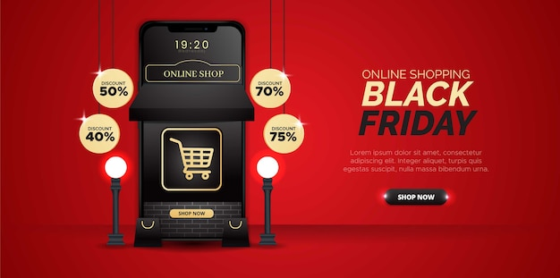 3-dimensional design with the theme of black friday online shopping