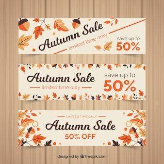 Autumn sale with elegant leaves vector free download 3 discount banners for autumn flat style stopboris Images