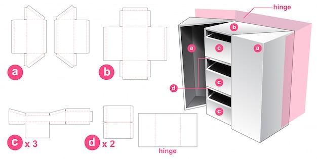 3 drawer box die cut template