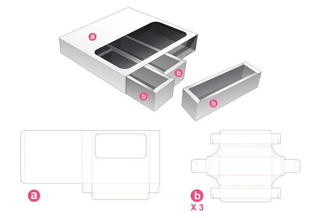 3 drawers box with cover die cut template