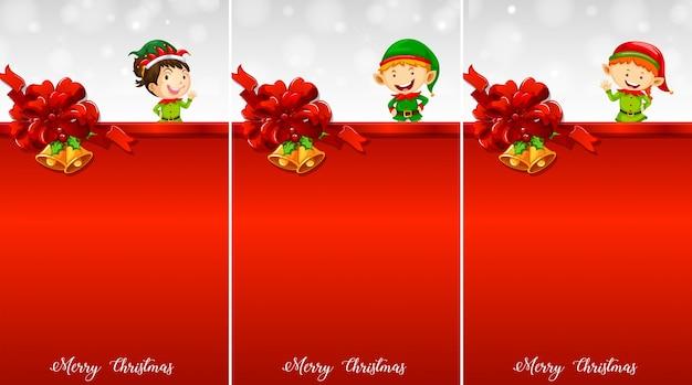 3つの背景クリスマスelevesとテンプレート
