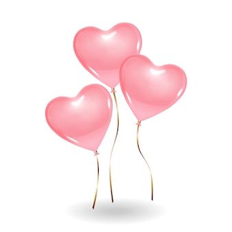 3 воздушных шара розового цвета в форме сердца.