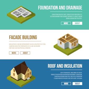 工業用イラストは建築工事段階の3つのバナーで設定されます。ベクトル等尺性il