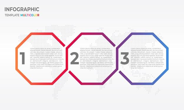 六角形3つのオプションを持つタイムラインinfographic