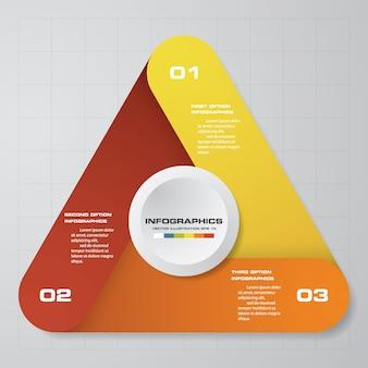 プレゼンテーションのための3つのステップの最新のチャートのinfographics要素。
