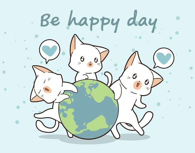 3 kawaii cats love the world