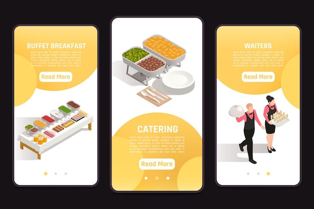 3 banner a schermo mobile con buffet e illustrazione di camerieri