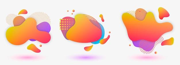 3 현대 액체 추상 요소 모양 멤피스 스타일 디자인 유체