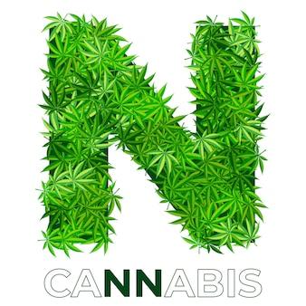 6の3。文字n.大麻またはマリファナの葉のロゴのデザインテンプレート。エンブレム、ロゴ、医療サービスまたはパッケージの広告用の麻。フラットスタイルのアイコン。孤立