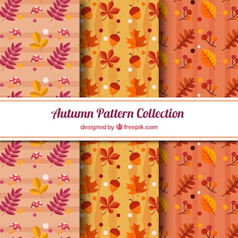 3 patterns with autumn leaves