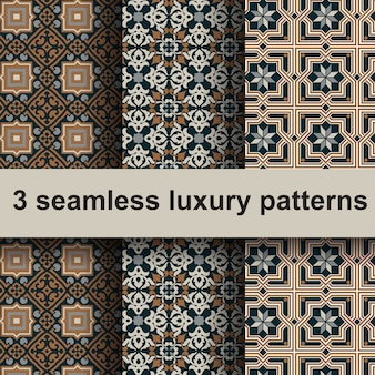 3 seamless luxury patterns.