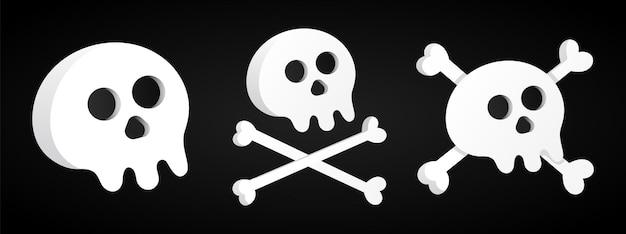 交差した骨の3つのシンプルなフラットスタイルのデザインのスカルセットアイコン記号ベクトル図