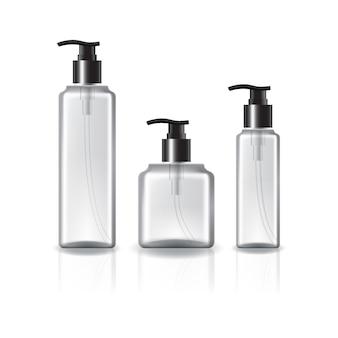 美容、健康的な製品のためのポンプヘッドと黒いリングが付いている3つのサイズの正方形の化粧品ボトル。