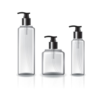 3 sizes of square cosmetic bottle with pump head and black ring for beauty, healthy product.