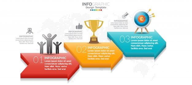 3 step of timeline infographics design