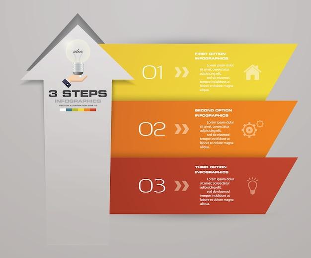 3 steps arrow infographics element chart.