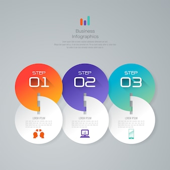 3 steps business infographic elements for the presentation