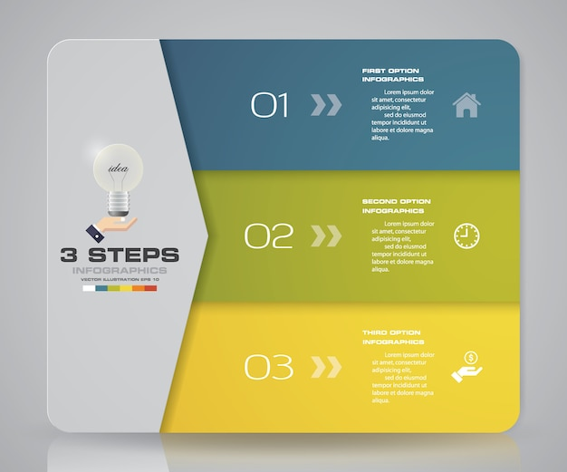 3 steps chart infographics elements