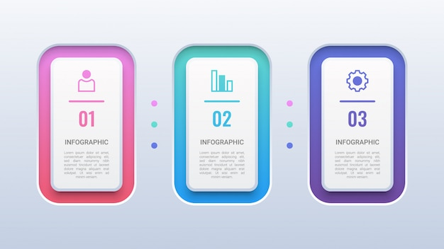 3 steps colorful 3d infographic  template