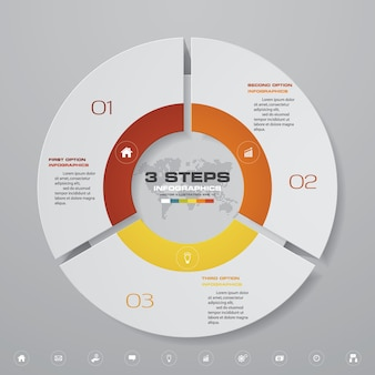 3 steps cycle chart infographics elements.