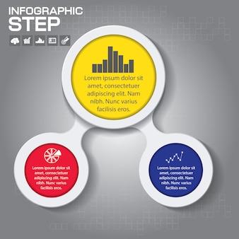 3 단계 infographic 디자인 요소