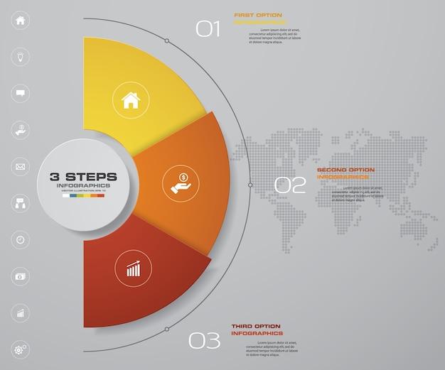 3 steps infographics element chart.