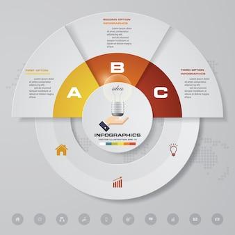 3 steps infographics element for presentation.