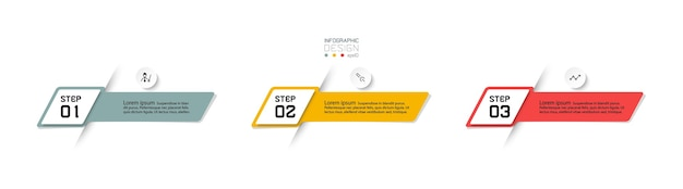 3ステップモダンなインフォグラフィックデザイン